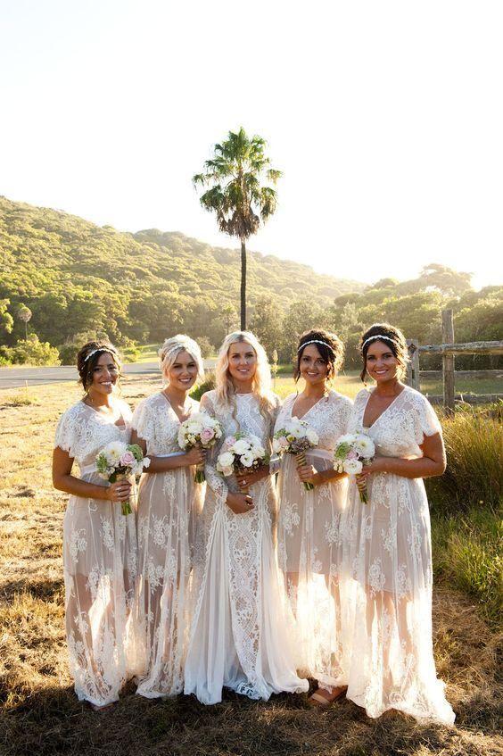 2017 New Summer Bohemian White Sheer Lace Bridesmaid Dresses V Neck Short  Sleeves Plus Size Wedding