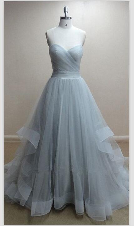 J211 Tulle prom dresses, A line prom dress, simple prom dress, tulle ...