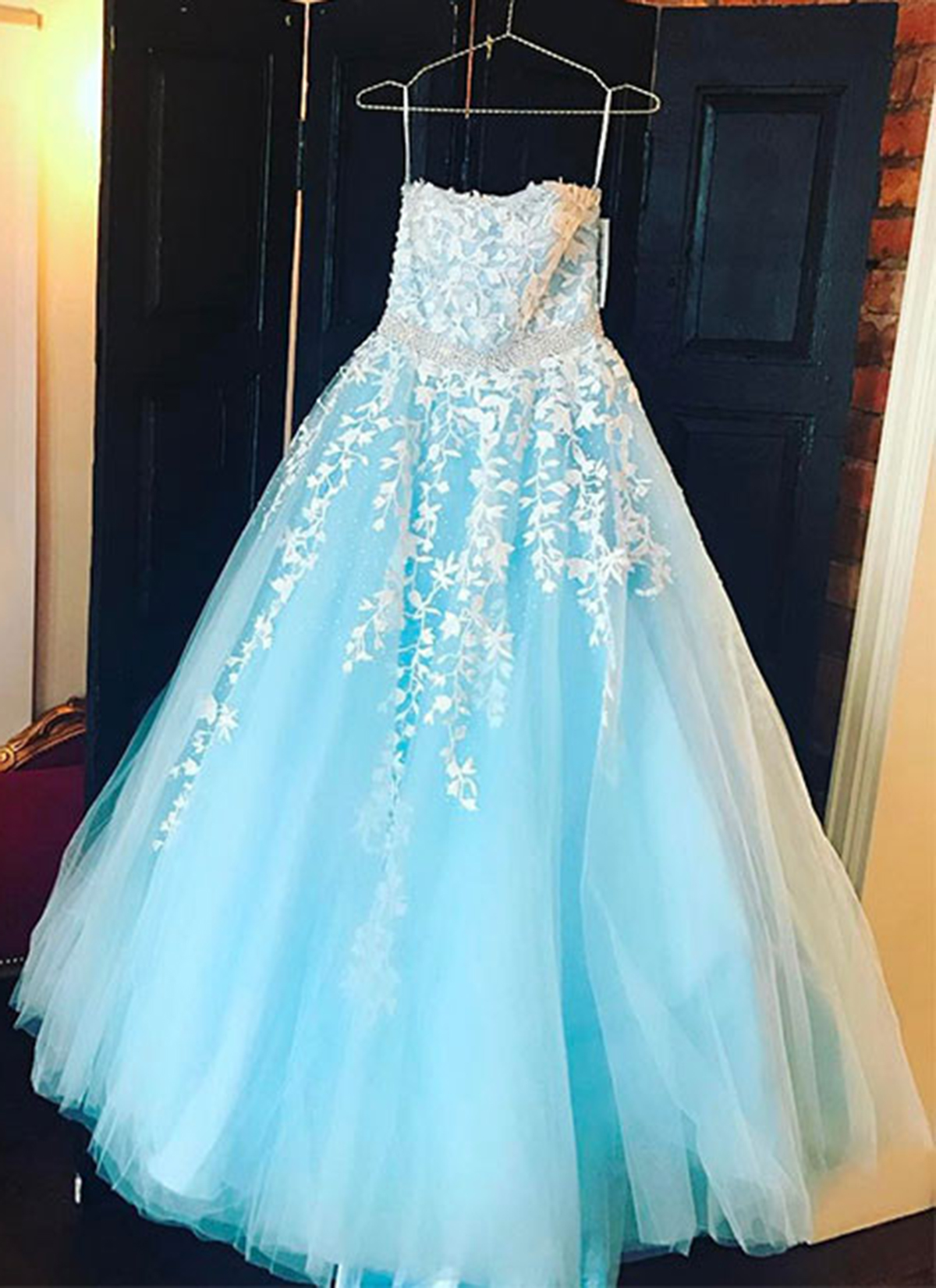 Baby blue tulle long A-line senior prom dress, strapless evening ...