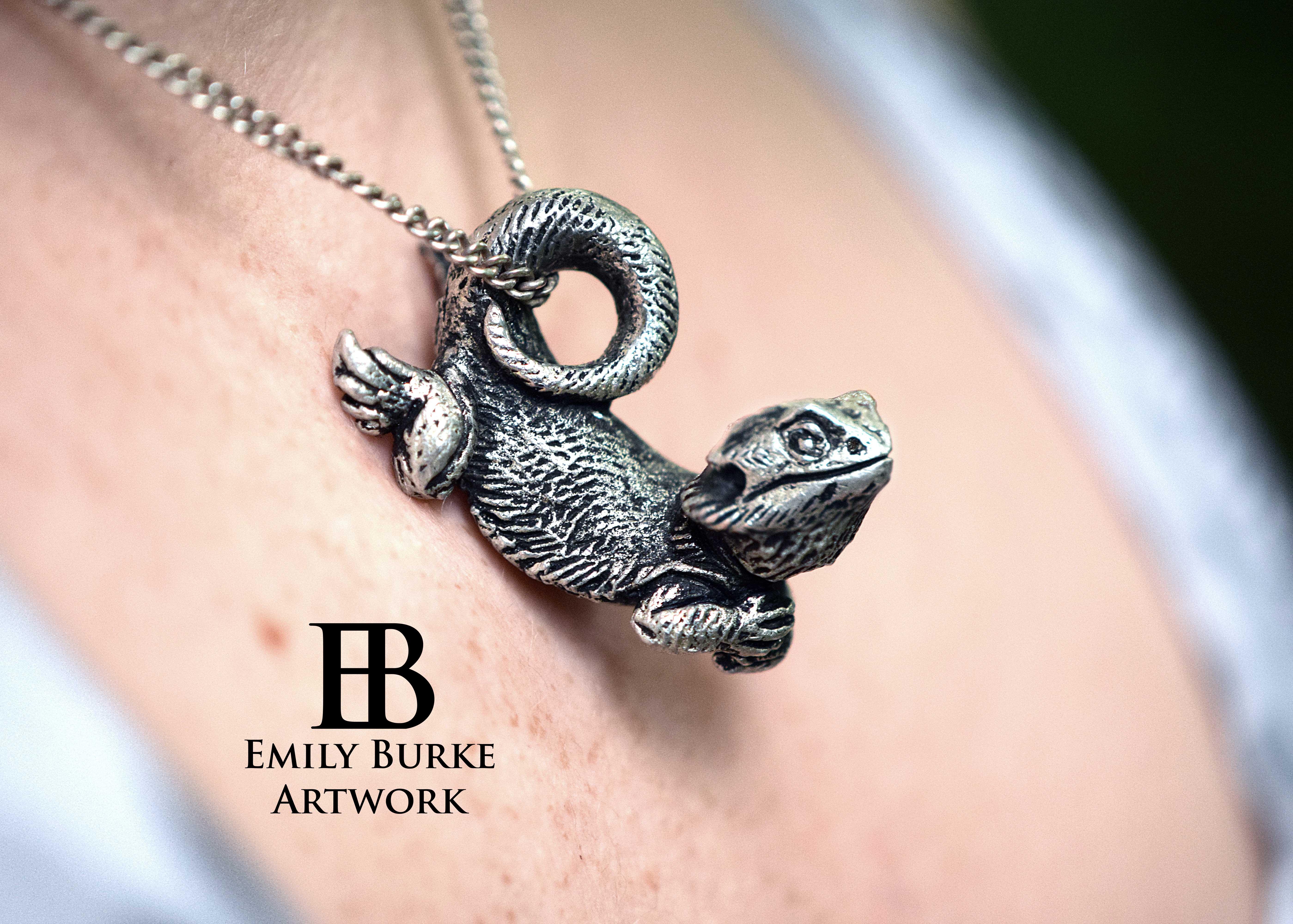 Pewter Bearded Dragon Keychain 183 Emily Burke Artwork