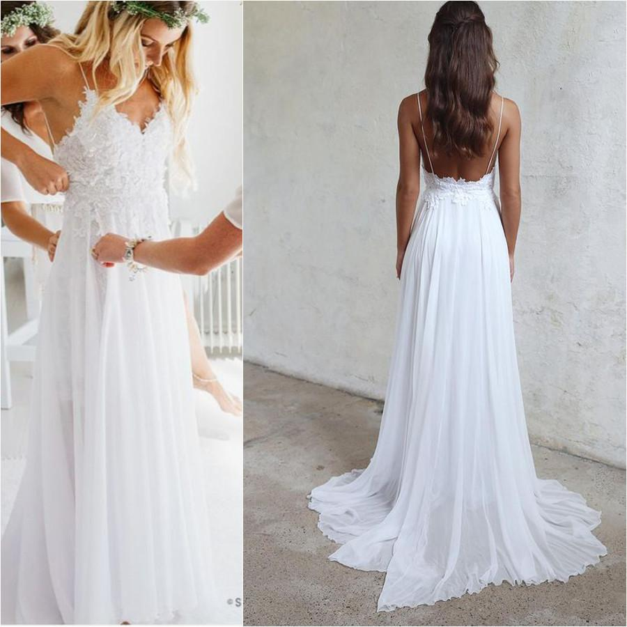 Spaghetti Straps White Long Chiffon Lace Beach Wedding Dresses ...