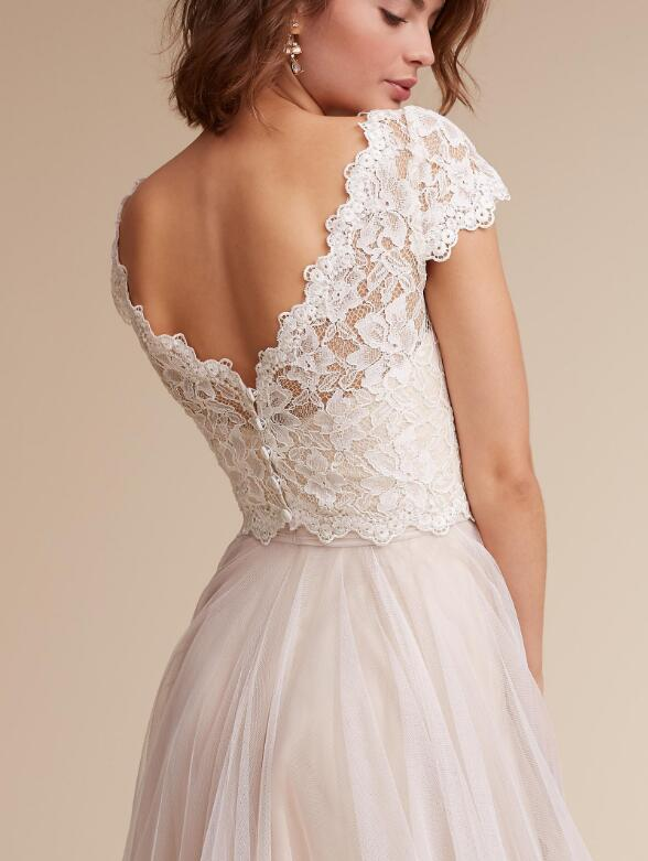 A Line Two Piece Long Tulle Lace Simple Wedding Dress · Pretty Lady ...