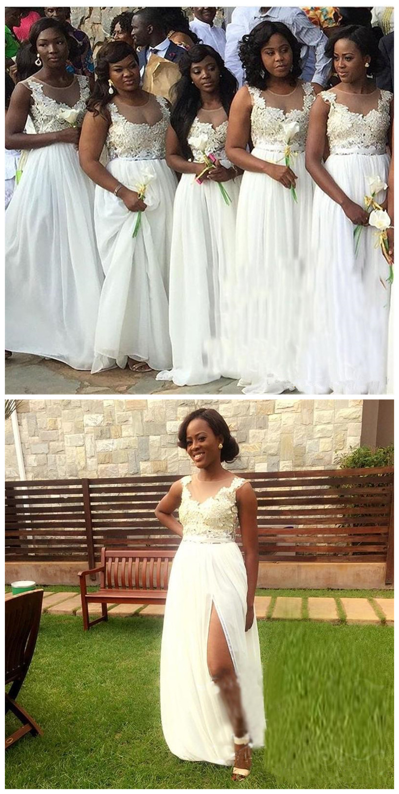 White Bridesmaid Dresses For South African Black Girls New ...