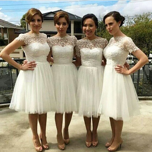 short bridesmaid Dresses, tulle bridesmaid dress, white bridesmaid ...