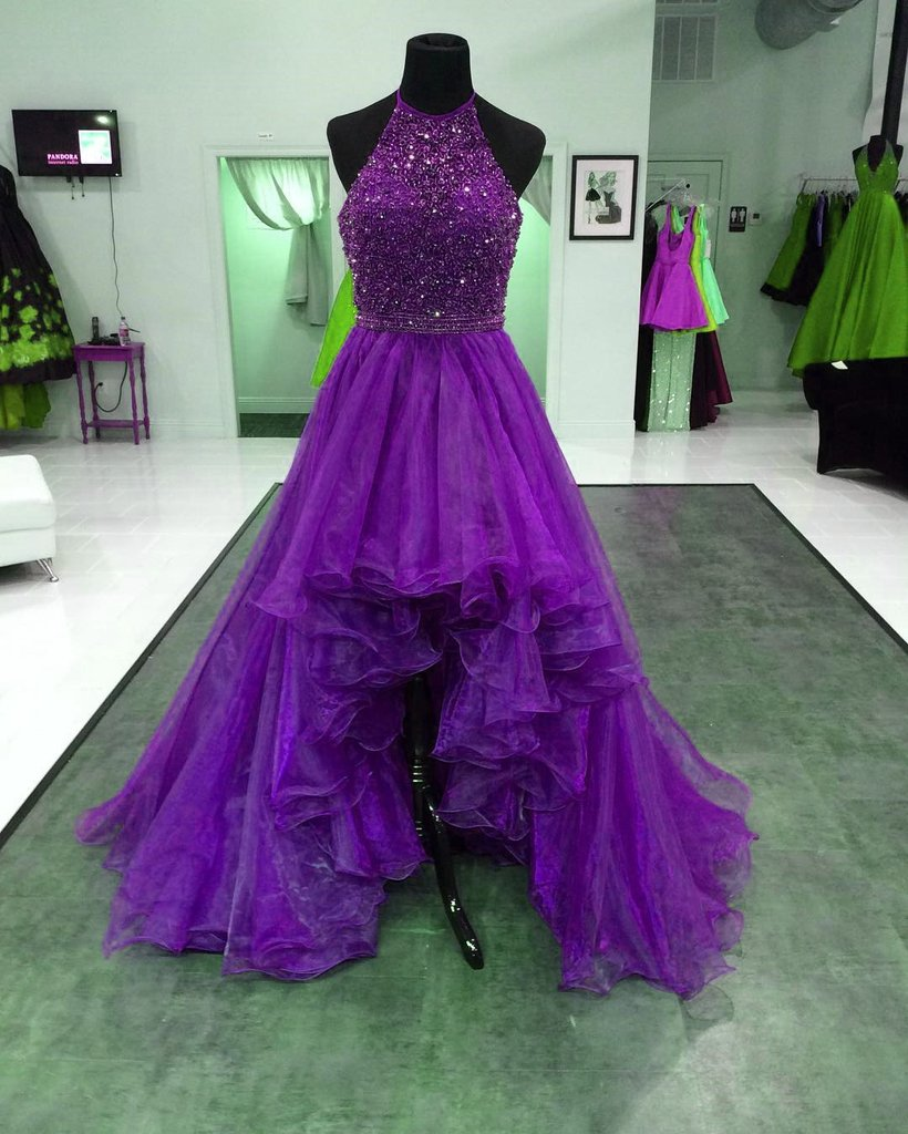 A Line Formal Purple Beaded Halter Organza Ruffles High Low Prom ...