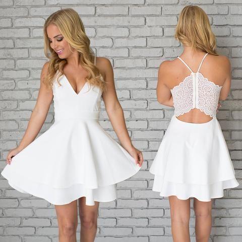 White Homecoming Dresses,Spaghetti Straps Homecoming Dresses,Short ...