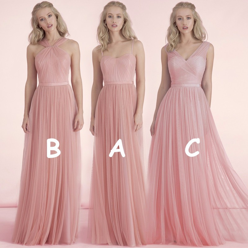 Cheap Bridesmaid Dresses, Bridesmaid Dresses, Tulle Long Nude Pink ...