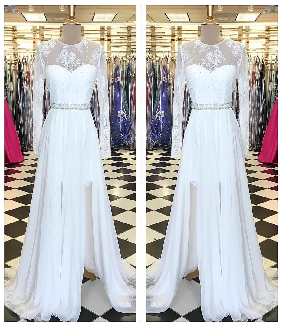 white lace long chiffon prom dress with long sleeves,long sleeves ...