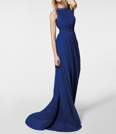 Formal Elegant Long Royal Blue Chiffon Crystal Prom Dress,Long ...