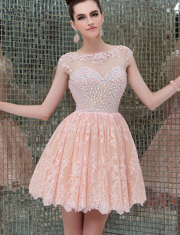 Cap Sleeve A Line Lace Homecoming Dresses Dazzling Beaded Appliques