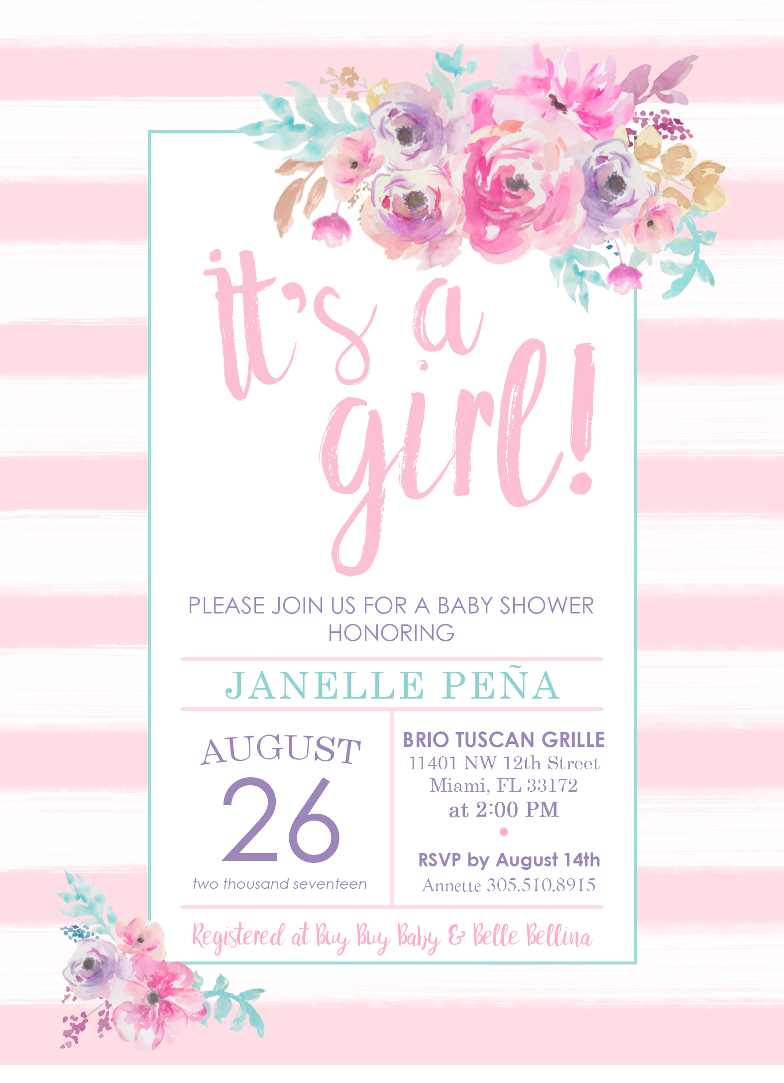 It\'s A Girl Baby Shower Invitation | Watercolor | Floral | Pink ...
