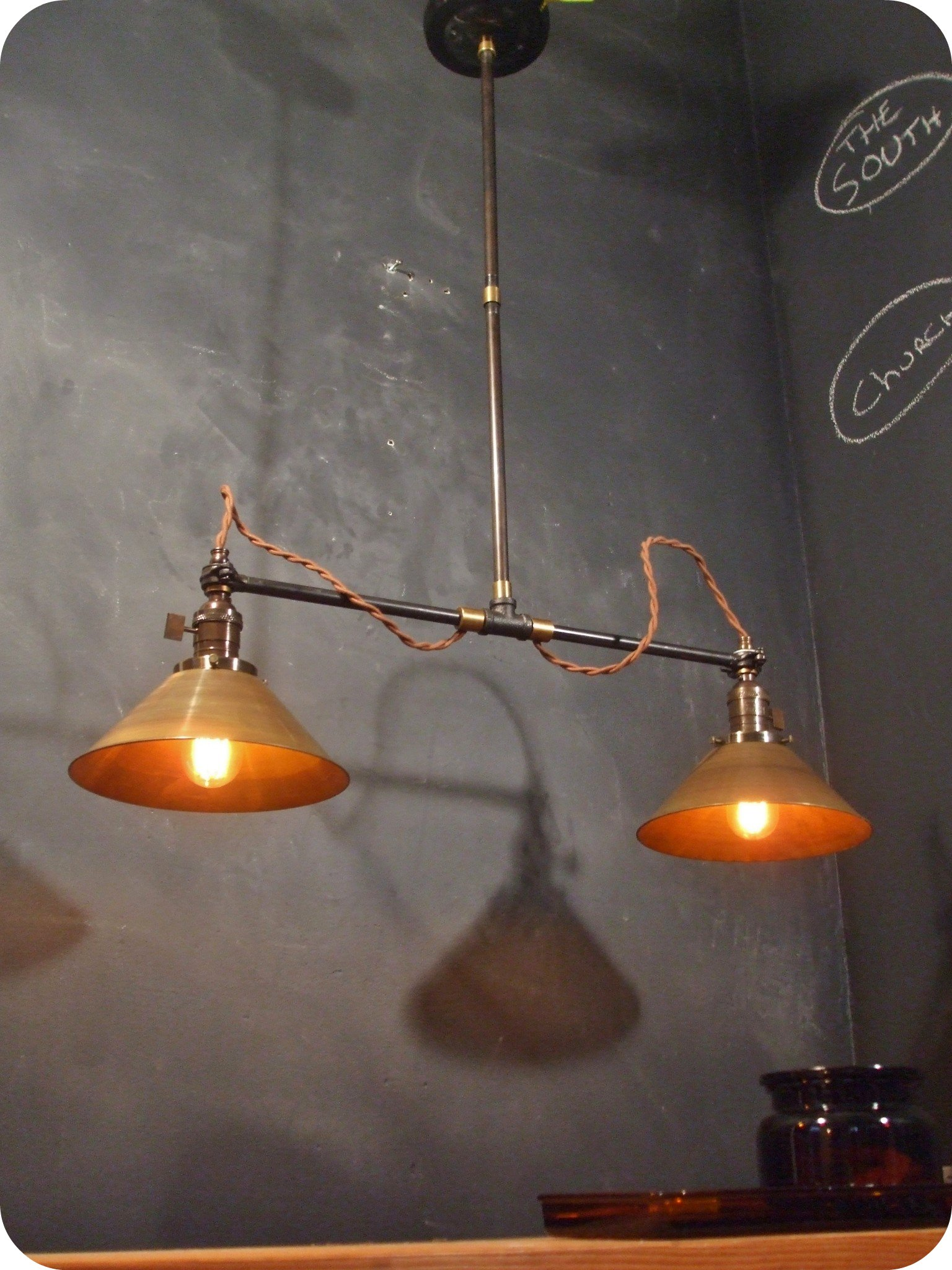 Vintage Industrial Ceiling Scone Double Brass Cone