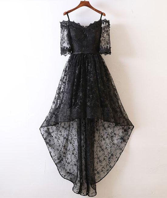 A Line Off Shoulder Black Lace High Low Promhomecoming Dress