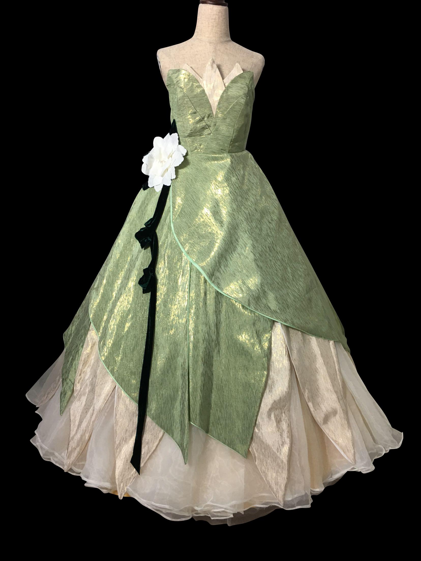 P338 TIANA DISNEY PRINCESS COSTUME DRESS GREEN GOWN · angel-secret ...