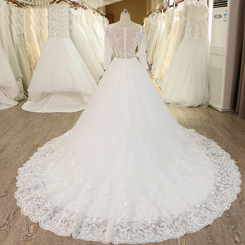 A264 Ball Gown Princess Wedding Dress With Crystal Sash Long Sleeves ...