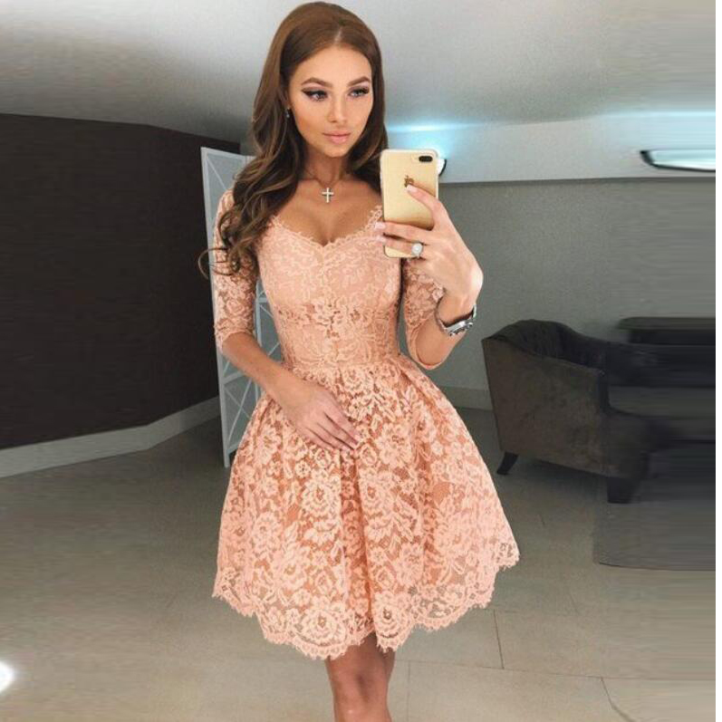 2018 Blush Pink Lace Short Homecoming Dress,Cocktail Dress With 3/4 ...