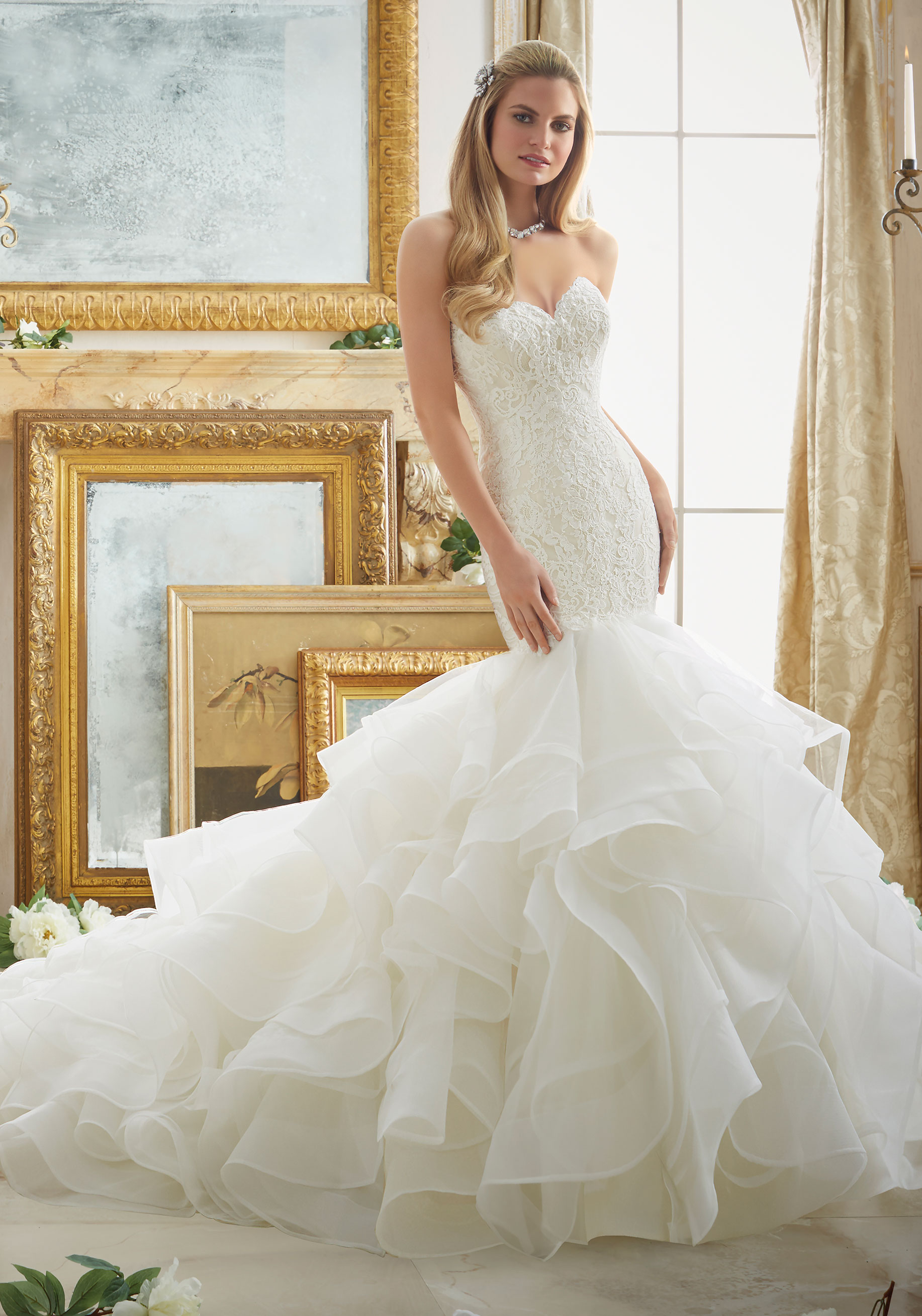 A84 Sweetheart Mermaid Wedding Bridal Gowns,Chapel Train Layers ...