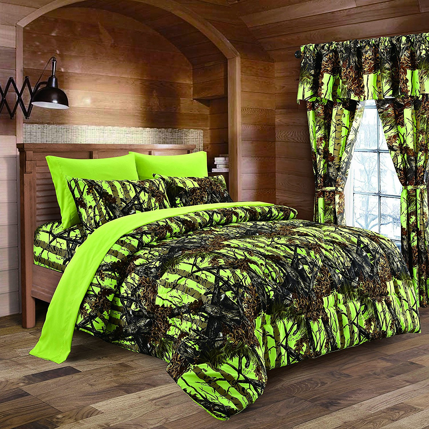 (The Woods Neon Lime Green Camouflage Queen 7pc.Premium Luxury