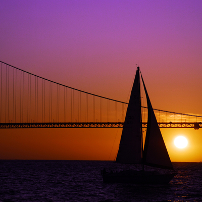 Sailboat sunset on the bay