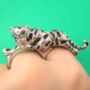 Leopard Shaped Double Duo Finger Animal Ring in Bronze