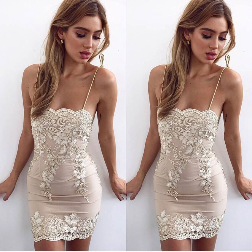 Sexy Straps Short Lace Tight Homecoming Dress Cocktail Dress ...