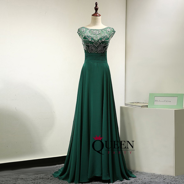 Dark Green Chiffon Beaded Top V Back Illusion Long Prom Dress With ...