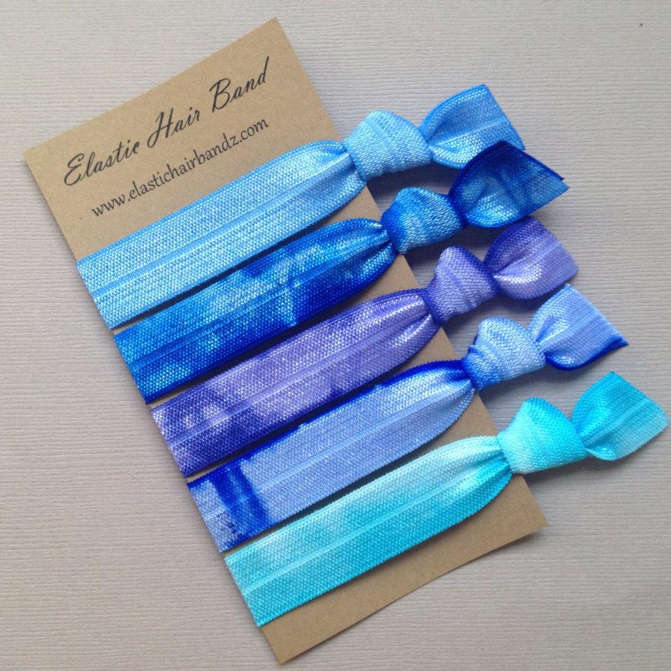 The Blue Sea Hair Tie Collection - 5 Elastic Hair Ties by Elastic Hair Bandz 9a7a102320d