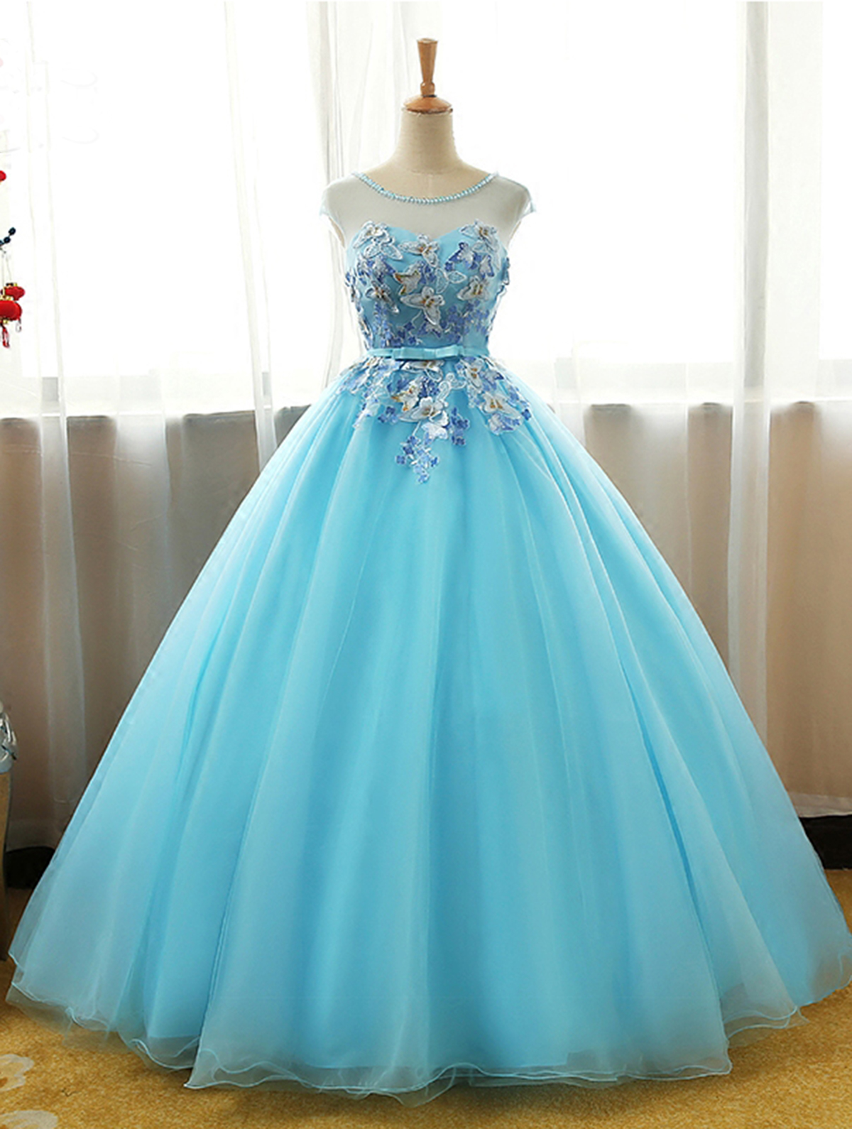 Cute light blue tulle long 3D flower A-line prom gown, cap sleeves ...