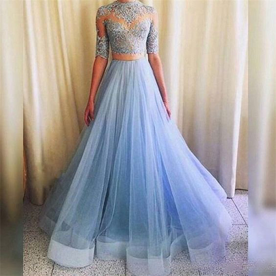 Long prom dress, two piece prom dress, half sleeve prom dress, lace ...