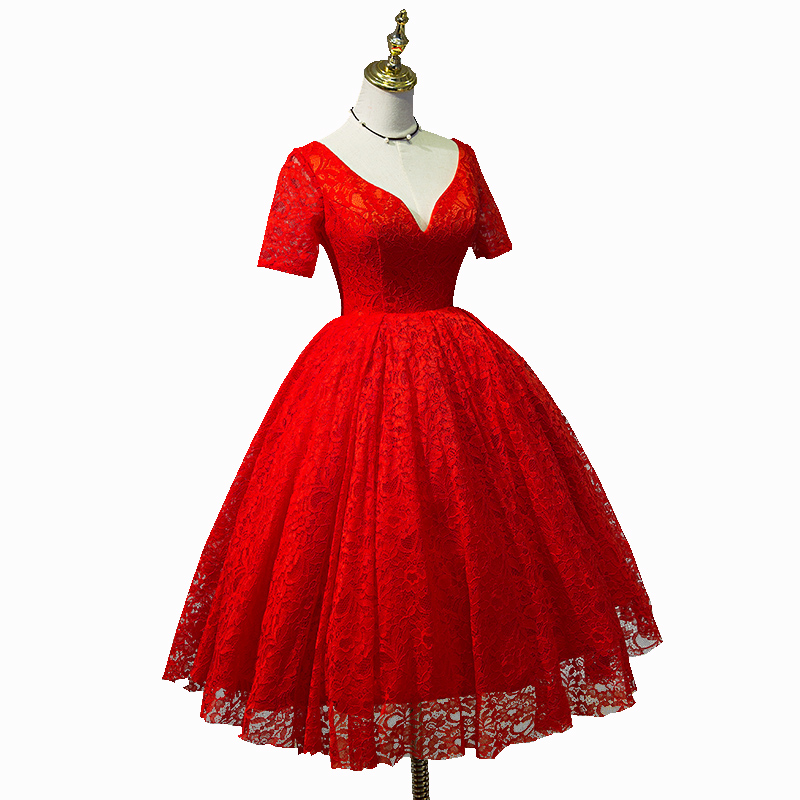 Charming Lace Red Vintage Style Teen Length Party Gowns Red Lace