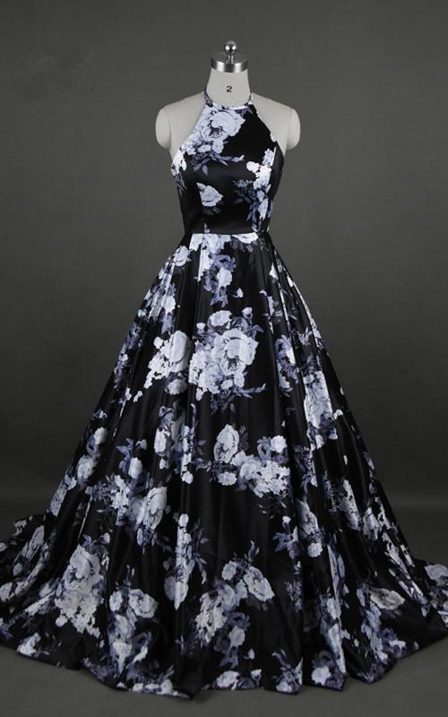 Black Floral Print Sleeveless Floor Length Ball Gown Long Prom Dress ...