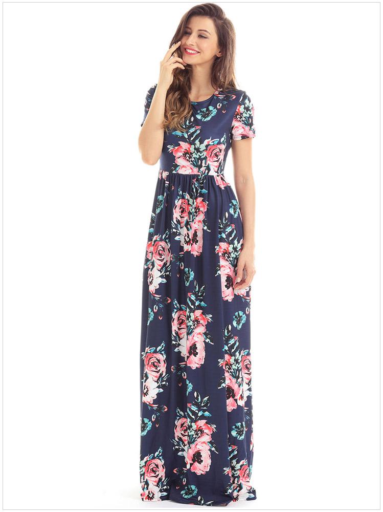 Pocket Design Short Sleeve Mint Floral Maxi Dress Long Sleeve Floor