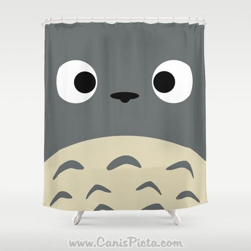 Simply Totoro Kawaii My Neighbor Shower Curtain 71 X 74 Anime Decorative Catbus Grey