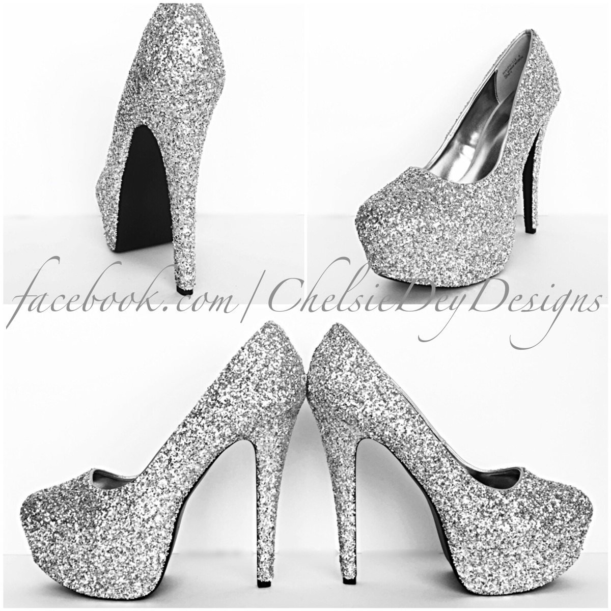 Silver Glitter High Heels, Grey Platform Pumps, Sparkly Prom Shoes ...
