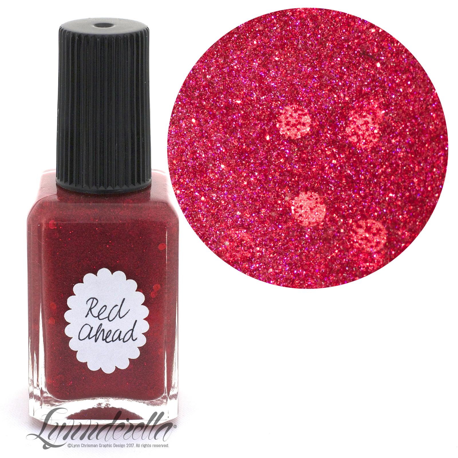 Lynnderella Nail Polish—Red Ahead—Accented Red Micro Glitter ...