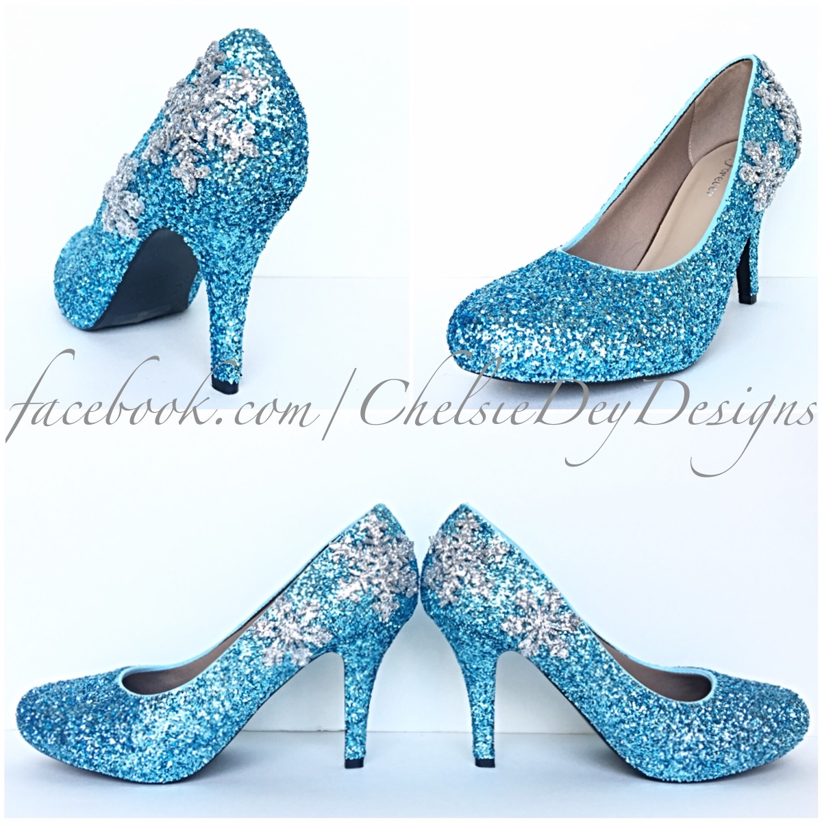 Aqua Glitter High Heels - Silver Snowflake Pumps -Blue Turquoise ...