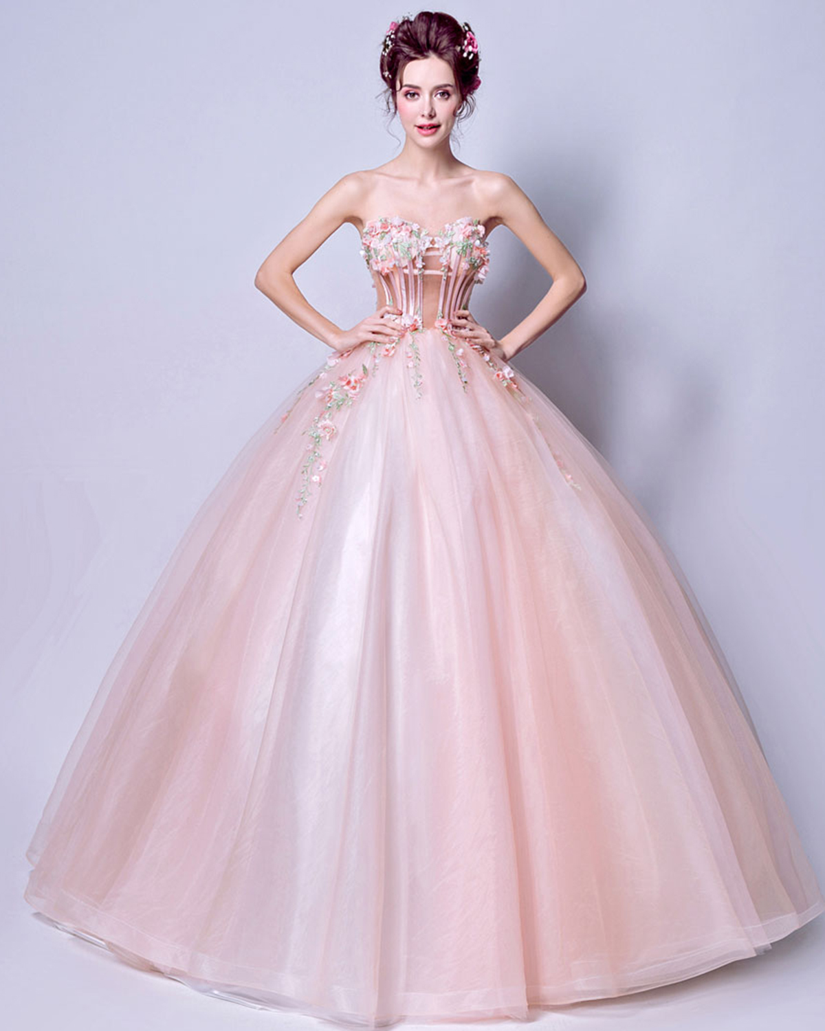 Blush pink tulle strapless train evening dress, 3D flower senior ...