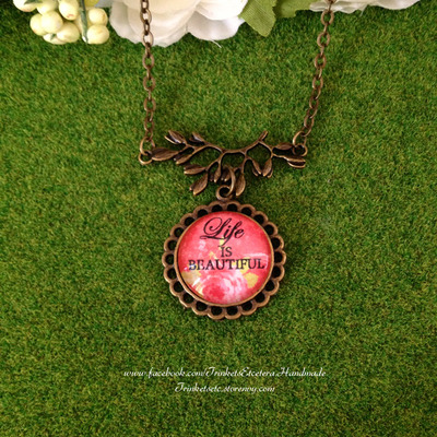 """life is beautiful"" vintage chic necklace"