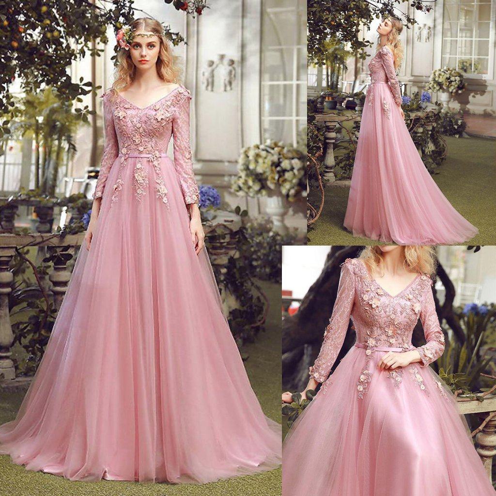Pink V-neck Long Tulle Prom Dresses with Long Sleeves,hs164 · SIMI ...
