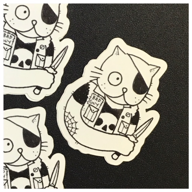 Bad cat die cut sticker