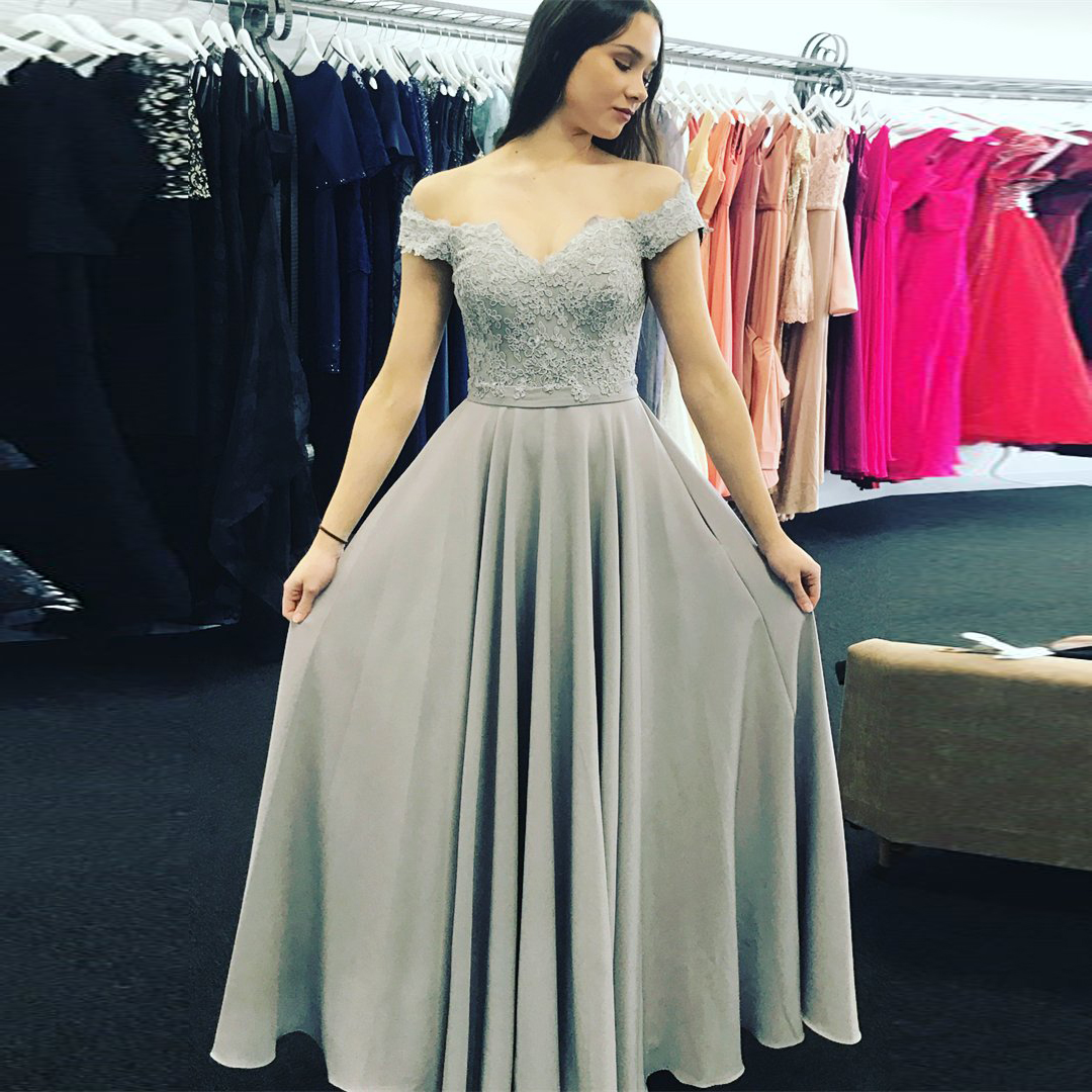 Silver Grey Off The Shoulder Prom Dressprincess A Line Formal Gown