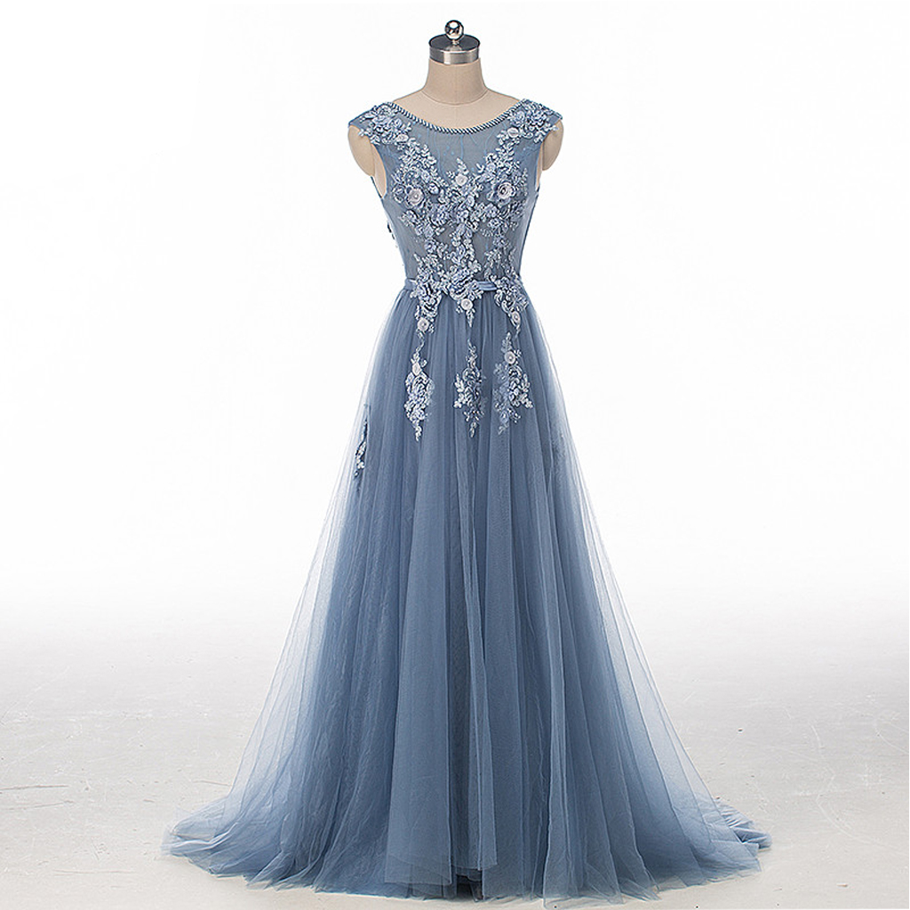 Dusty Blue Cap Sleeve Lace Evening Prom Dresses Sexy