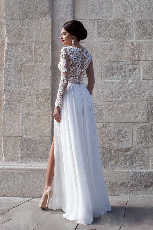 W464 Elegant Long Sleeves Appliques Top White Long Prom Dress ...