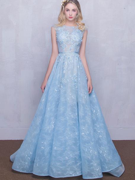 Elegant Sky Blue A Line Lace Prom Dresses,HS182 · SIMI Bridal ...