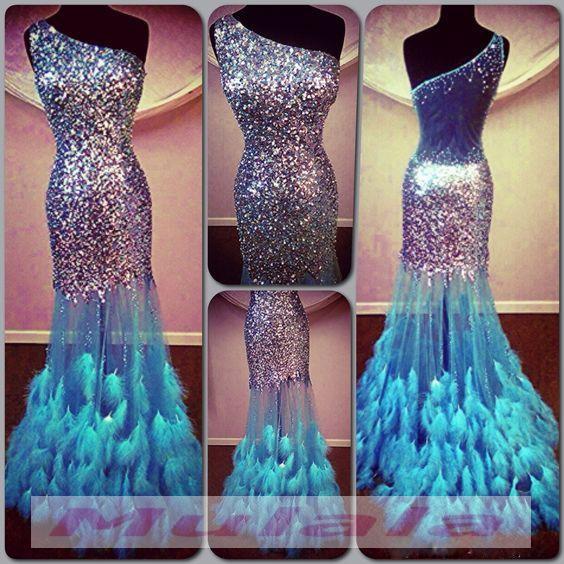 Light Sky Blue Feather Prom Dresses,Bling Bling Crystal Beaded ...