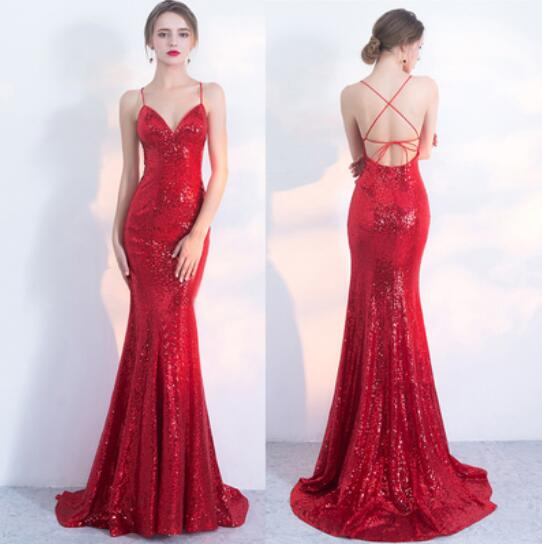 red mermaid dress prom