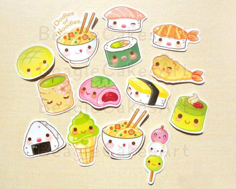 Cute japanese food stickers ramen noodle mochi sushi for Scrapbooking cuisine