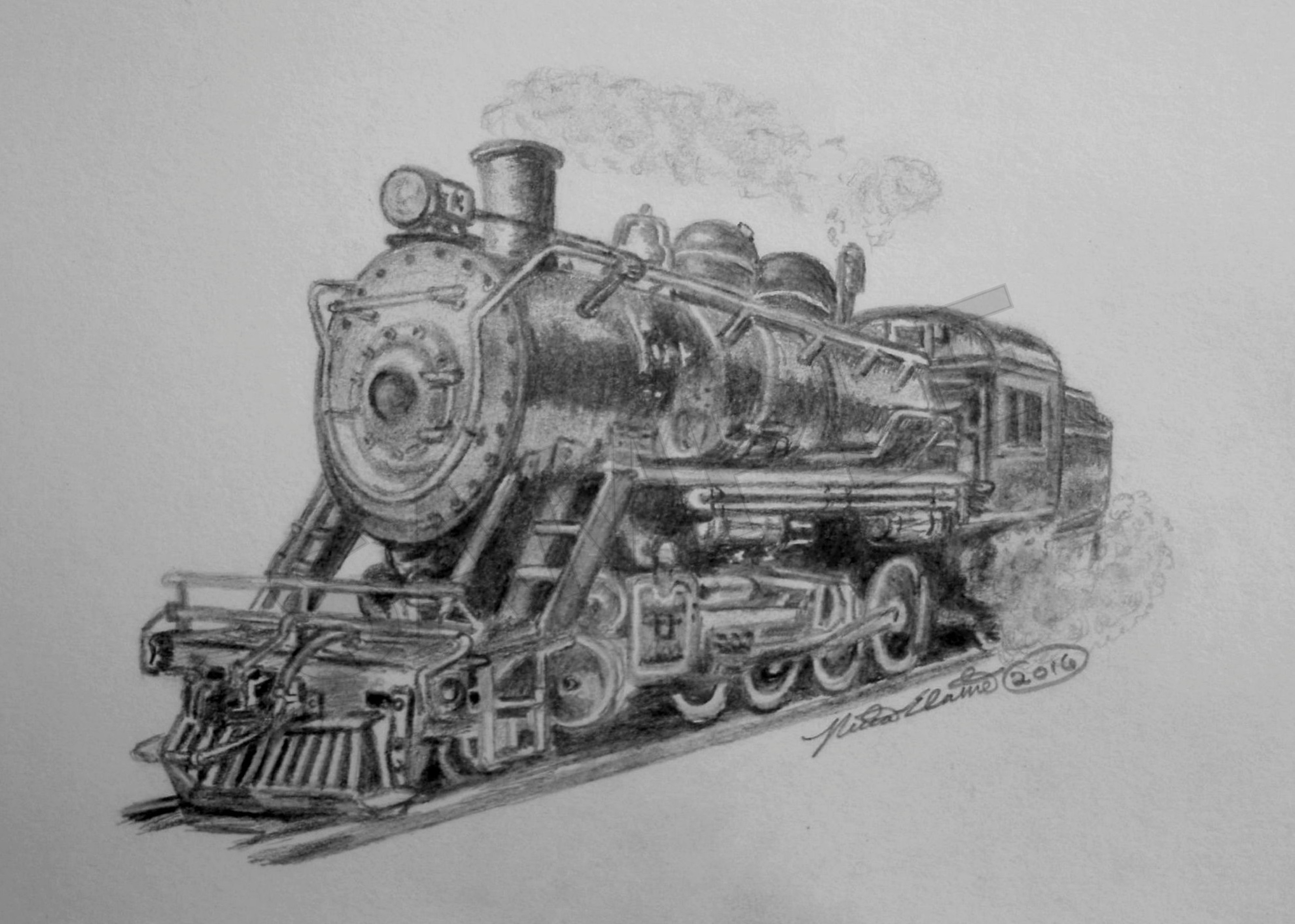 Steam Train By Nethompsonoriginal Framed Artwork Graphite 1960 Pontiac Gto Drawings Drawing Size 6x8
