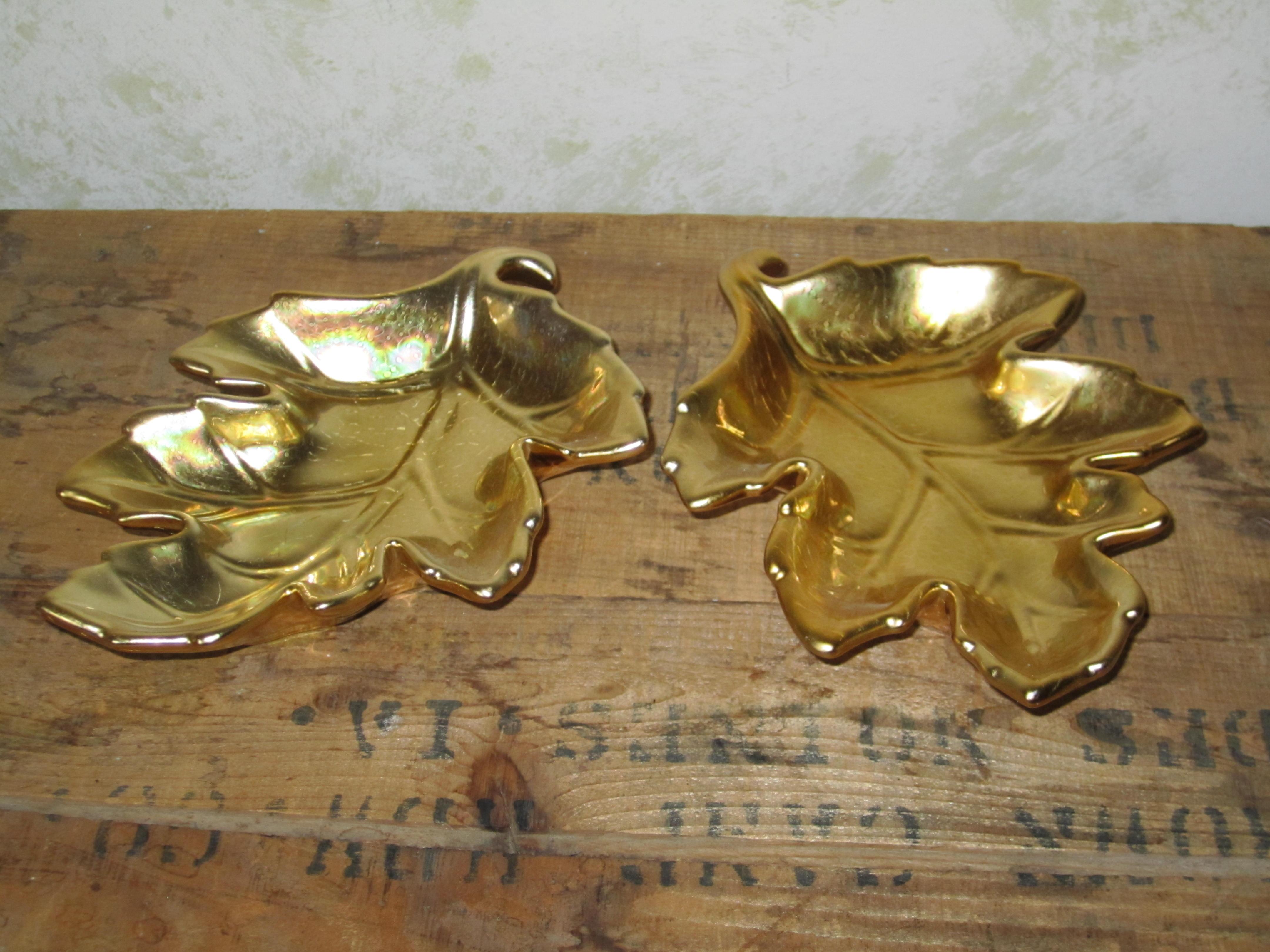 golden leaf candy dish set