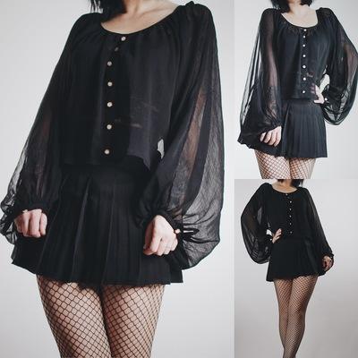 Claimed - vintage sheer black balloon sleeve crop top - Thumbnail 3 8c66e931a